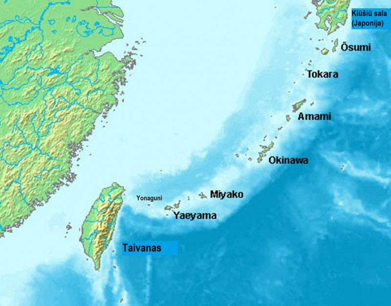 Riūkiū salynas. Pavadinimai netranskribuoti lietuviškai.