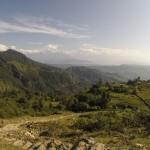 Ryžių pasėliai Himalajų aukštikalnių fone. Autorės nuotrauka