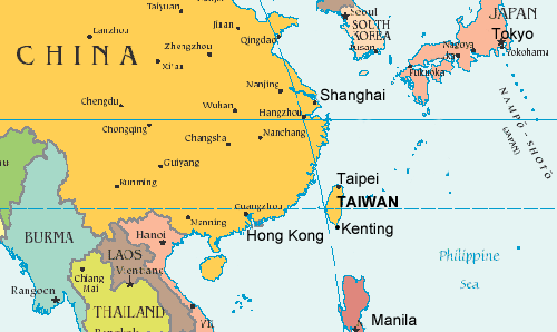 Geographic location of Taiwan.