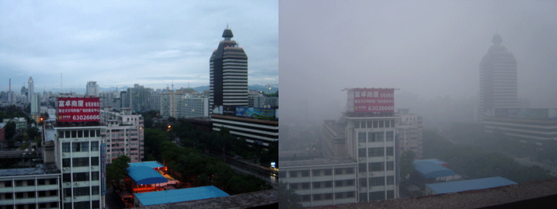 The visual difference between very low (left) and high (right) levels of pollution in Beijing.